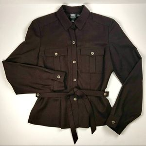 W BY WORTH Button-Down Shirt/Jacket Wool/Spandex P